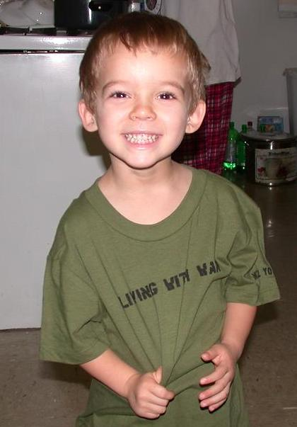 William John Scott, in the Neil Young t-shirt his Uncle John sent him from the 9-10-06 CSNY concert!
